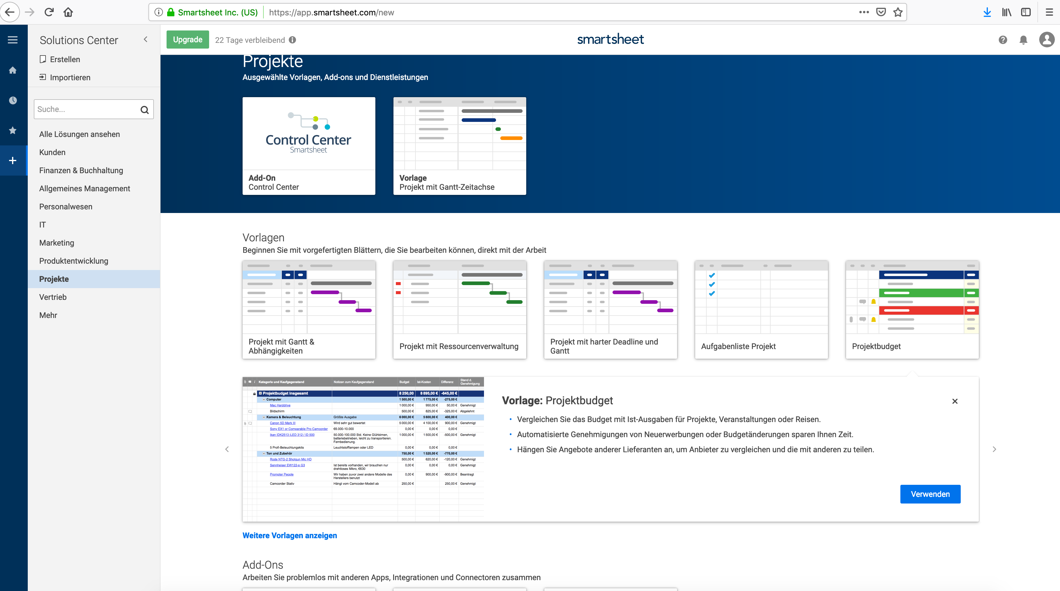 A screenshot of Smartsheet