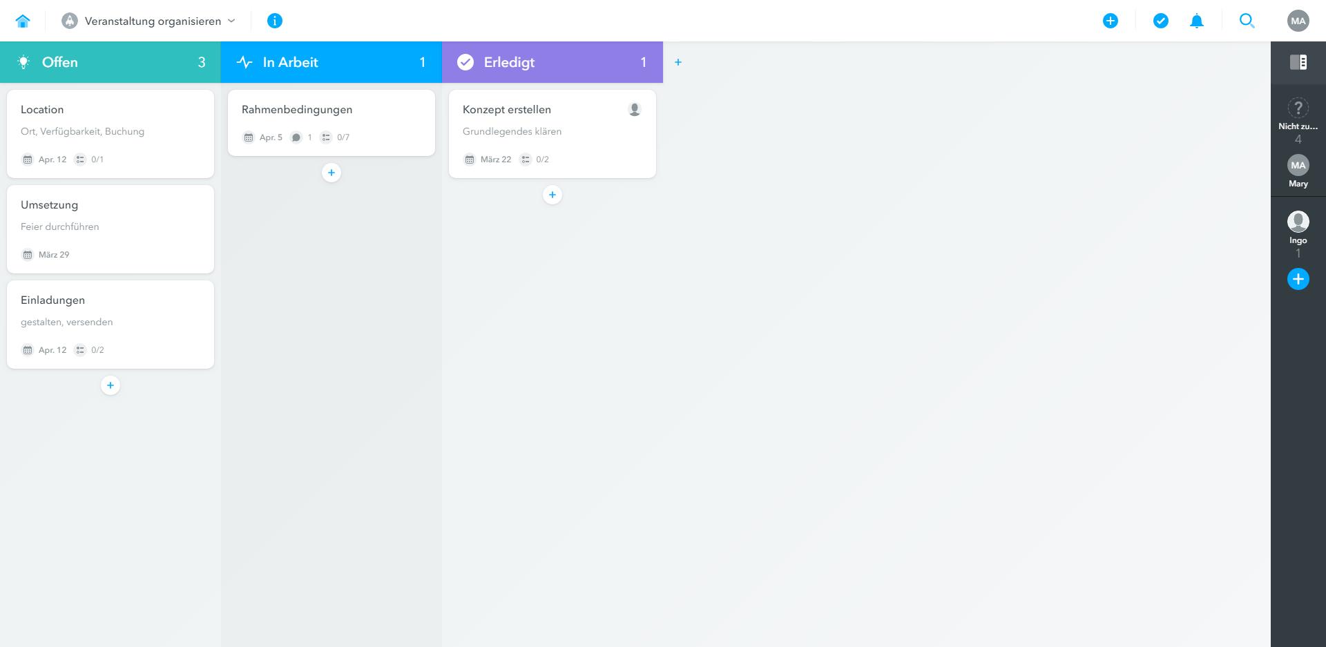 Kanban-Board des Projektmanagement-Tools Meistertask