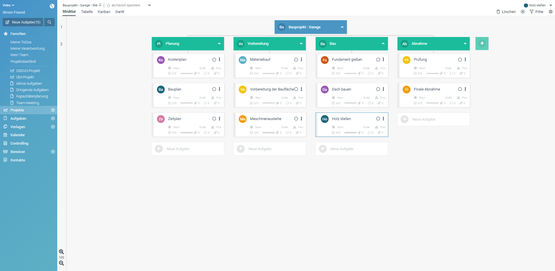 Projektstrukturplan für ein Bauprojekt mit dem Projektmanagement Tool factro erstellt