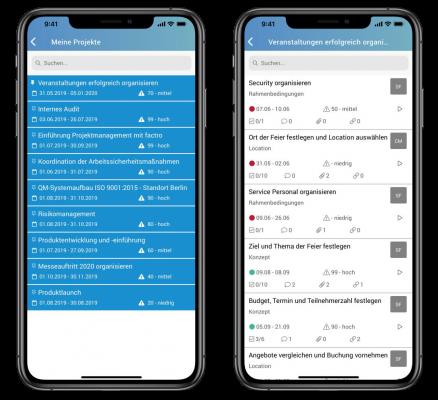factro Mobile App enthält eine Projektliste sowie eine projektbezogene Aufgabenliste