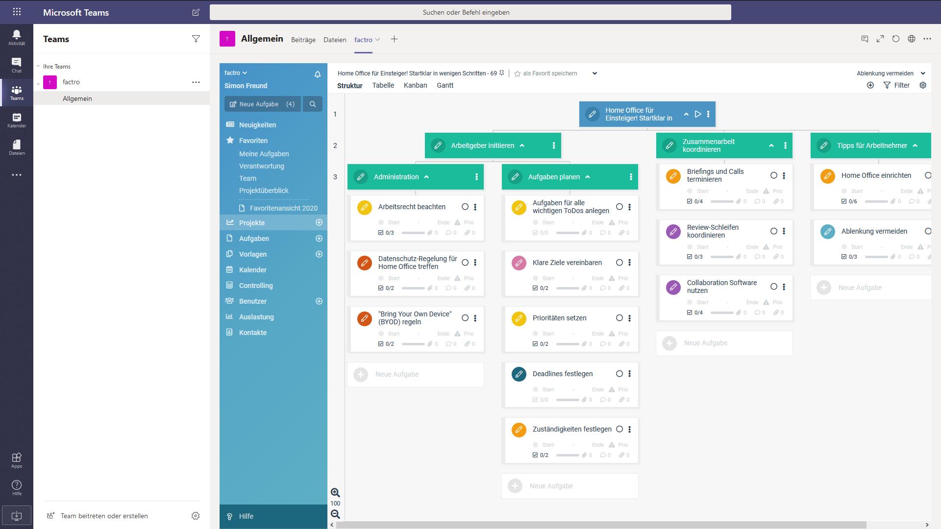 Ein Screenshot von factro in Microsoft Teams
