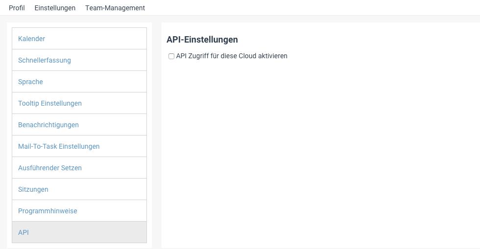 Die Einstellung für den API-Zugriff in factro