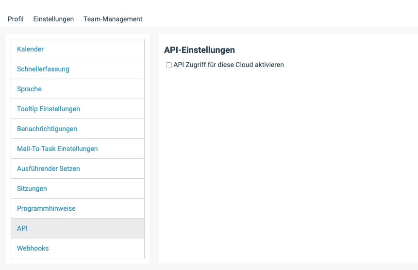 Ein Screenshot der API-Einstellungen