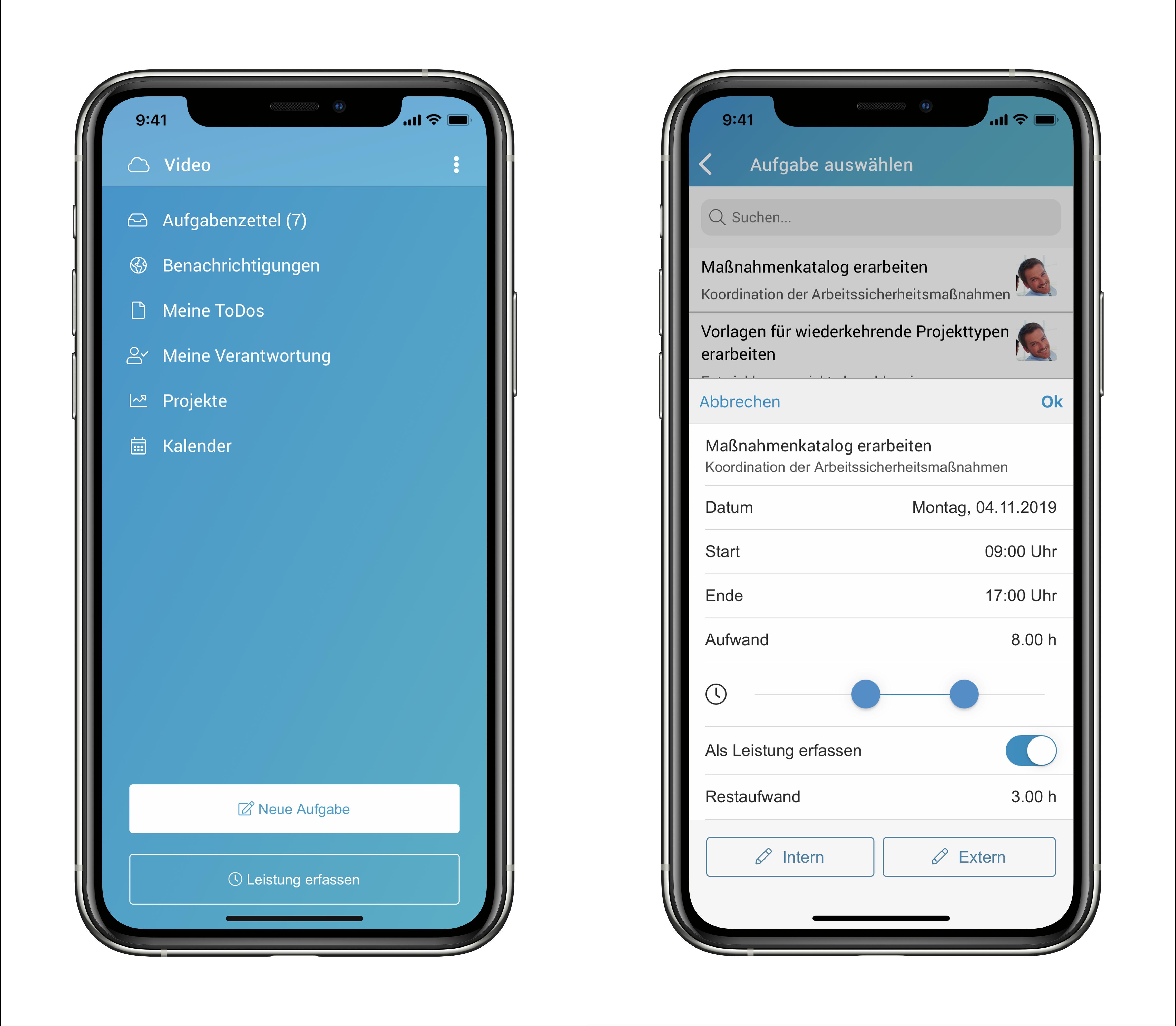 Die factro Mobile App mit Leistungserfassung