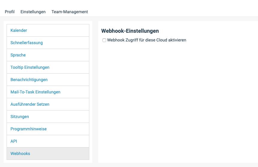 Ein Screenshot der Webhooks-Einstellungen