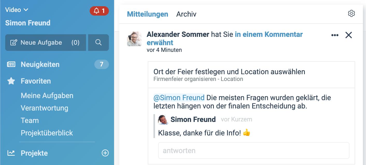"""Ein Screenshot der neuen factro Funktion """"Alarmglocke"""""""