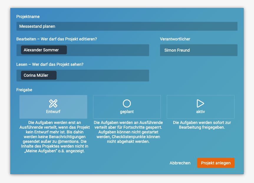 Ein Screenshot, der zeigt, wie ein neues Projekt in factro als Entwurf angelegt werden kann