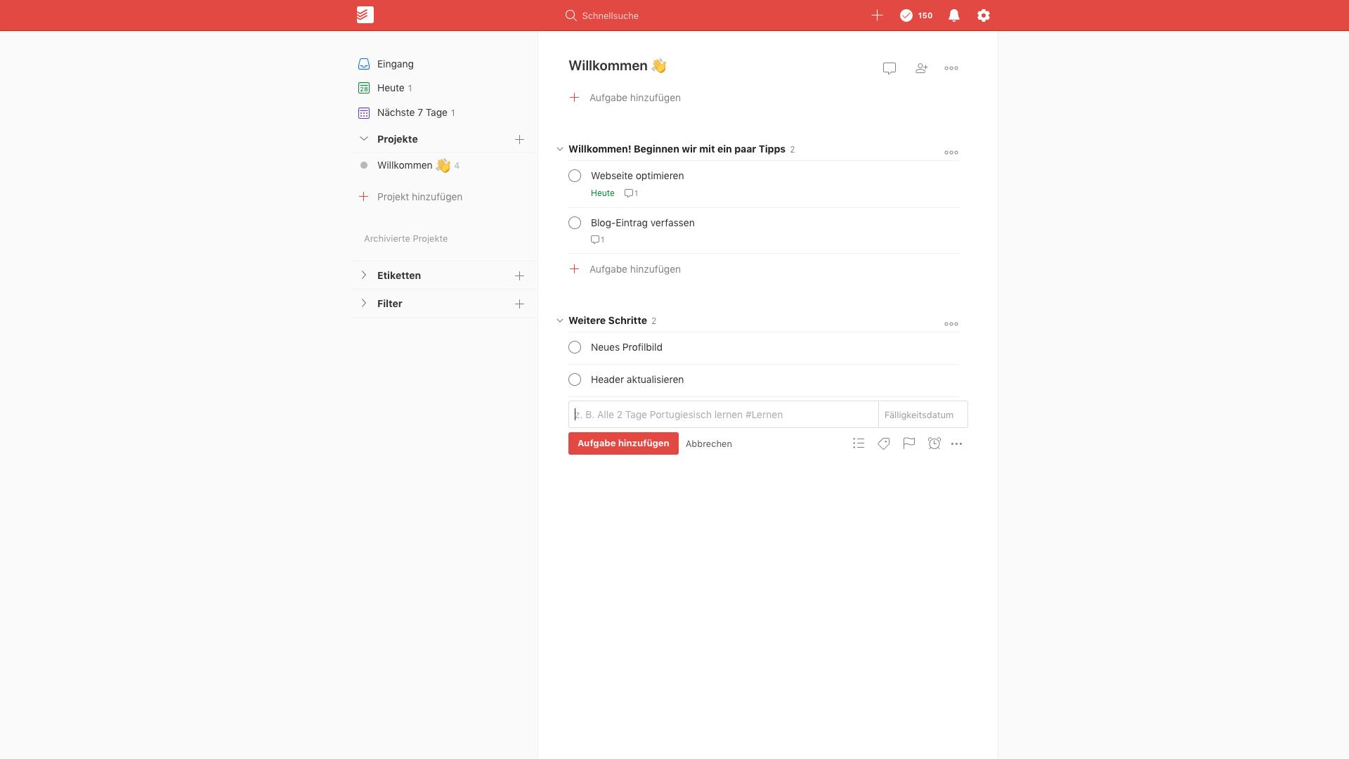 Ein Screenshot von Todoist