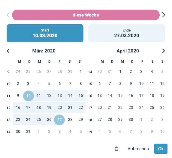 Ein Screenshot, der den neuen factro Datepicker zeigt