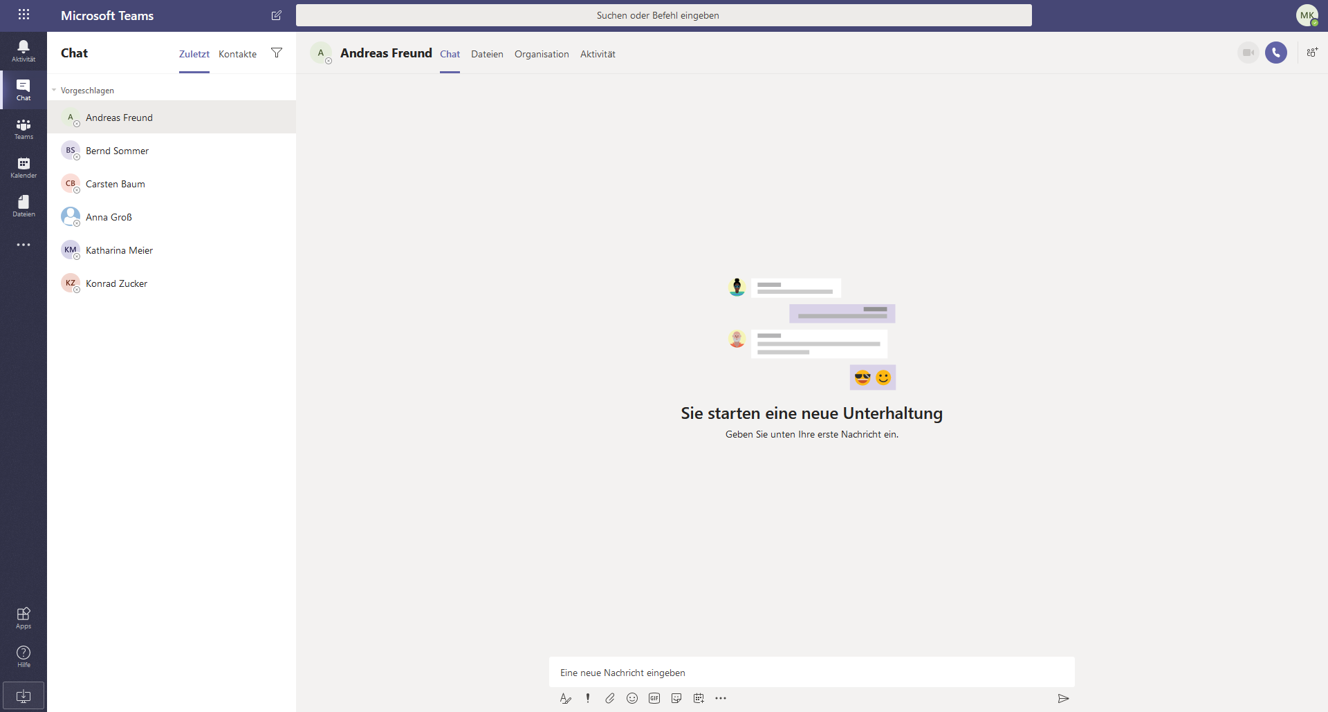 Ein Screenshot des Tools Microsoft Teams