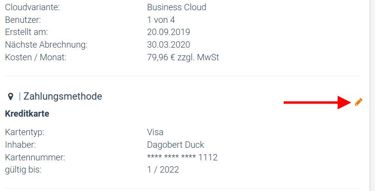 Ein Screenshot, der die Option zur Änderung des Zahlungsmittels in factro zeigt.