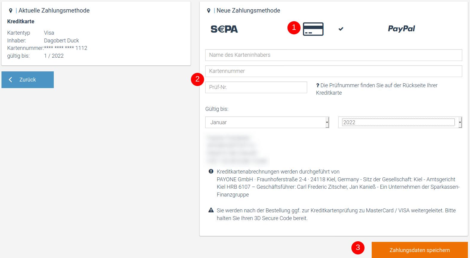 Ein Screenshot, der die Wahl eines neues Zahlungsmittels in factro zeigt.