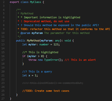 Ein Screenshot der VS Code Extension Better Comments