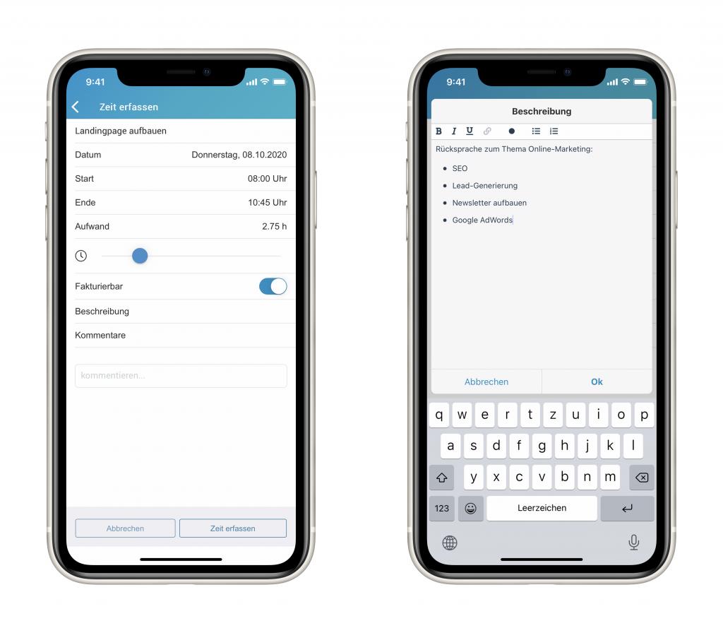 Die smarte Zeiterfassung in der factro Mobile App auf dem Smartphones