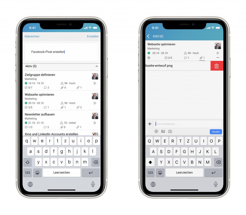 Zwei Bilder der factro Mobile App während der Projektarbeit auf einem Smartphone