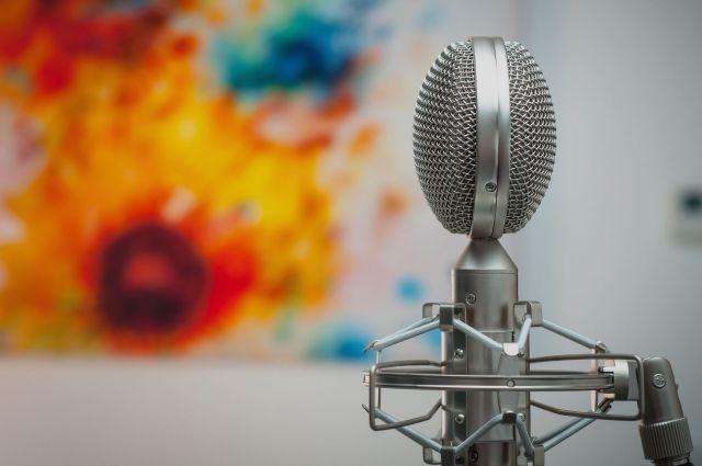 Ein Mikrofon mit einem Bild im Hintergrund
