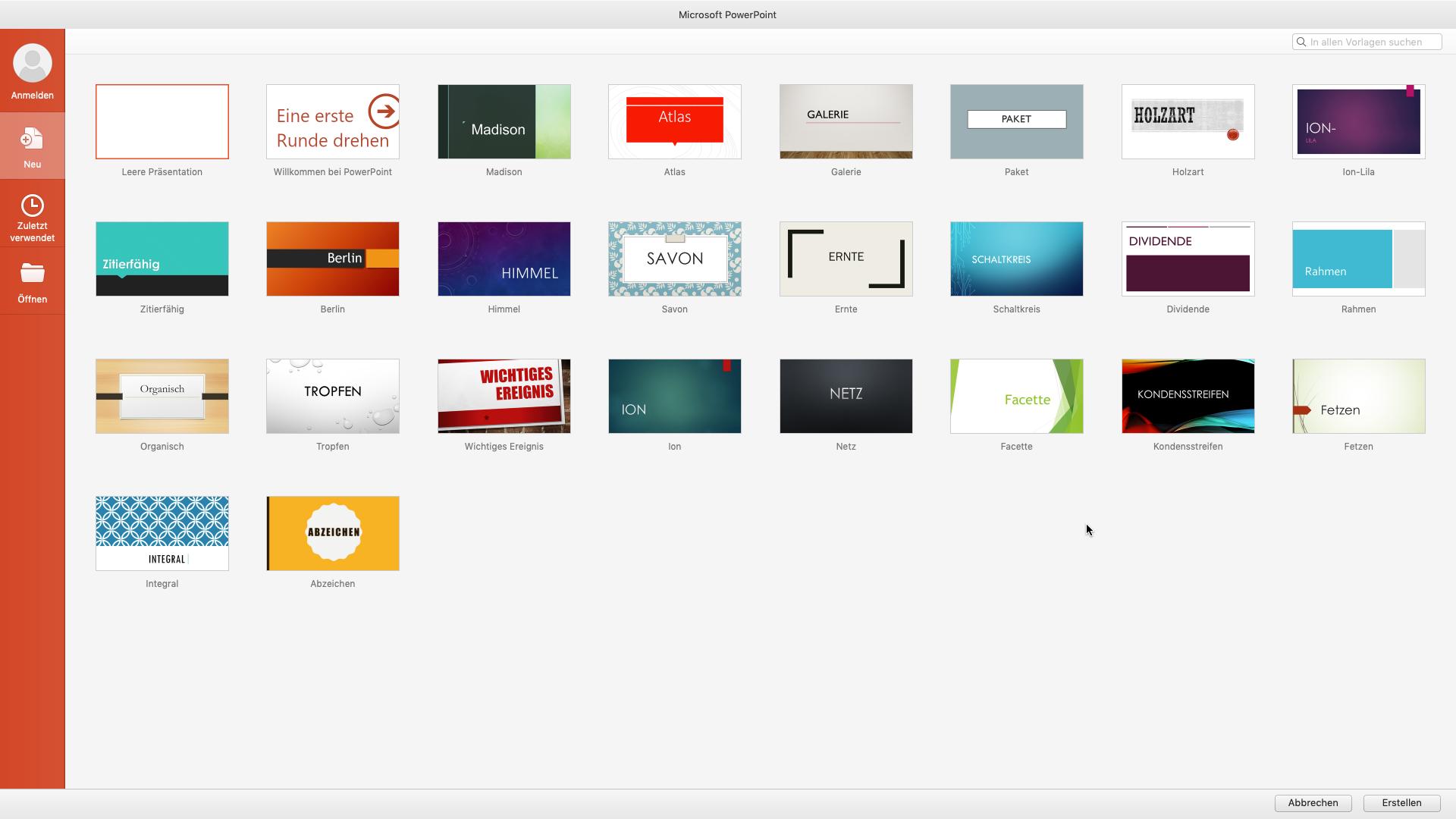 Ein Screenshot des Programms PowerPoint