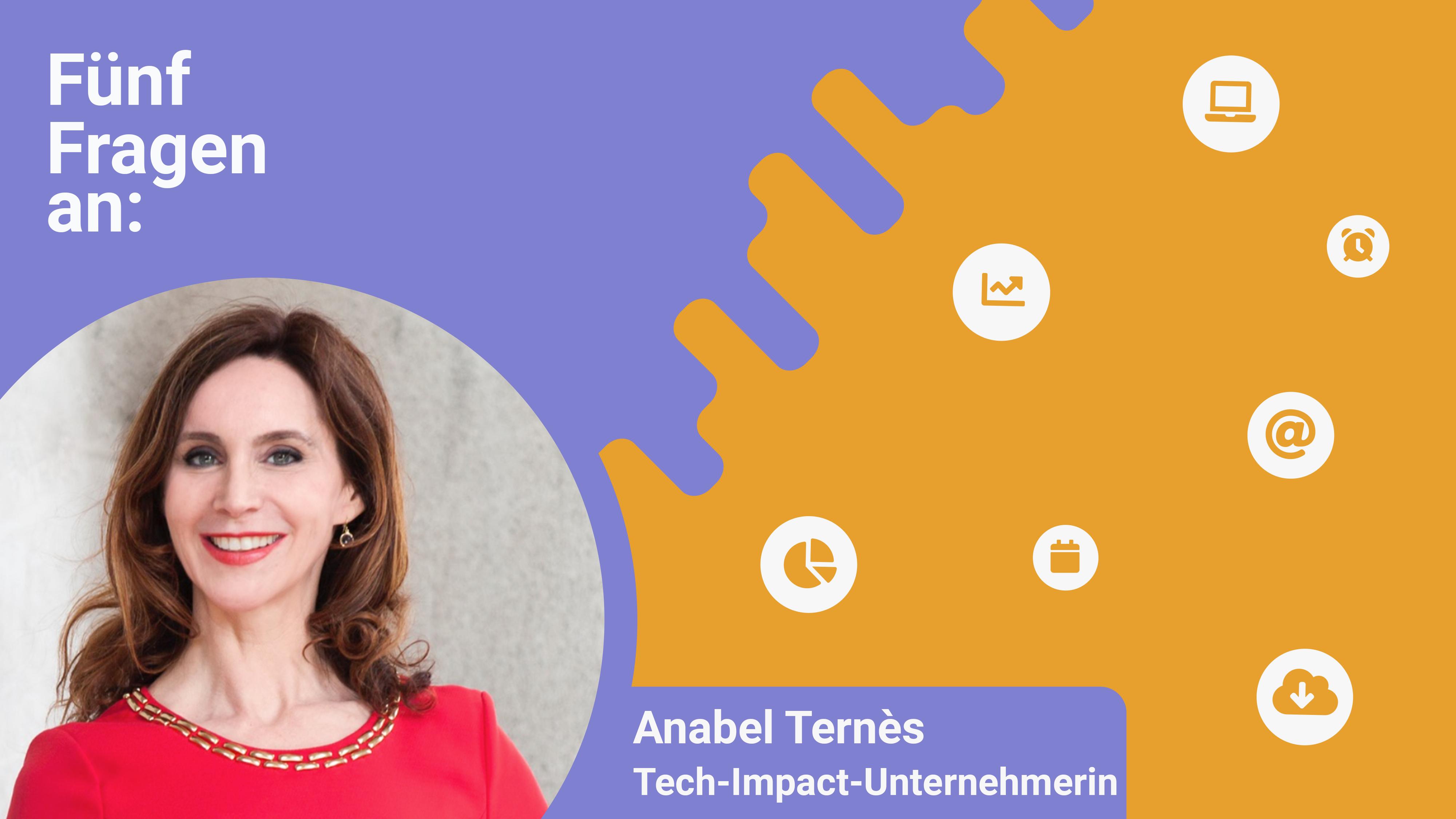 Eine Grafik mit einem Bild von Anabel Ternès und der Überschrift 5 Fragen an