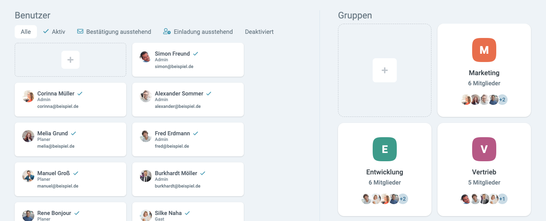 Ein Screenshot des factro Benutzerbereichs mit Nutzern und Teams