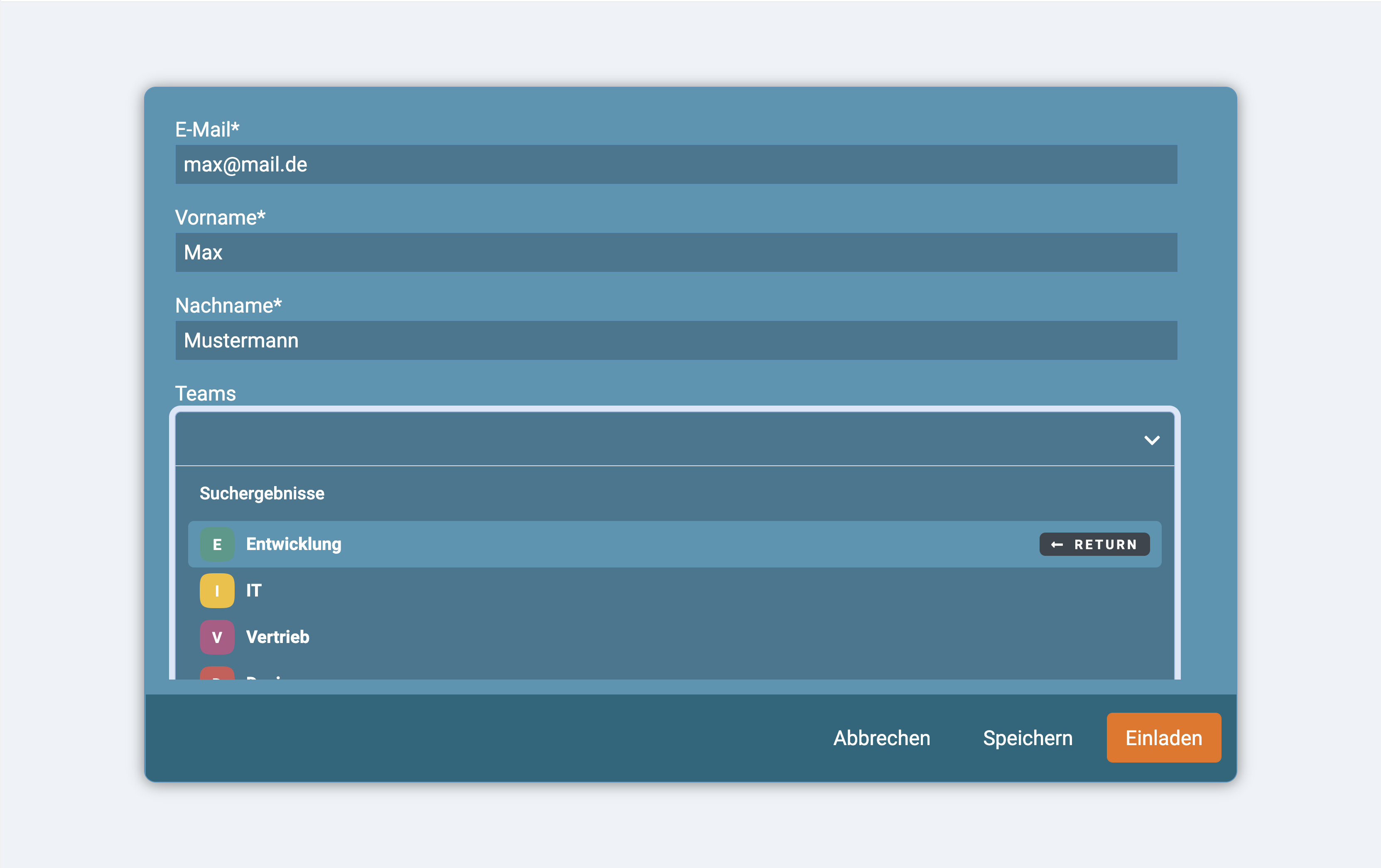 Ein Screenshot der Zuweisung neuer Nutzer in ein Team in factro