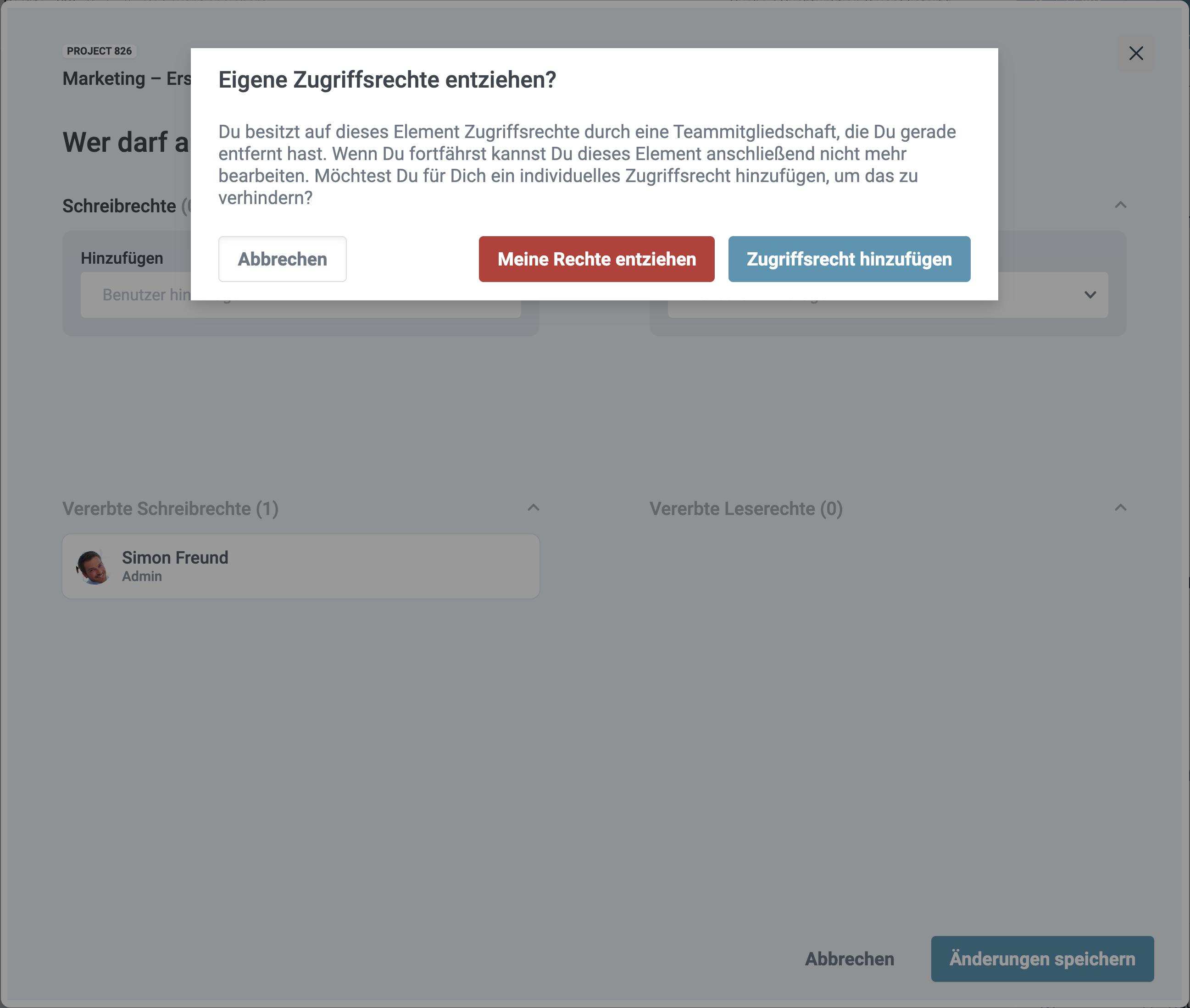 Ein Screenshot der Abfrage bei selbst entzogenen Rechten in factro
