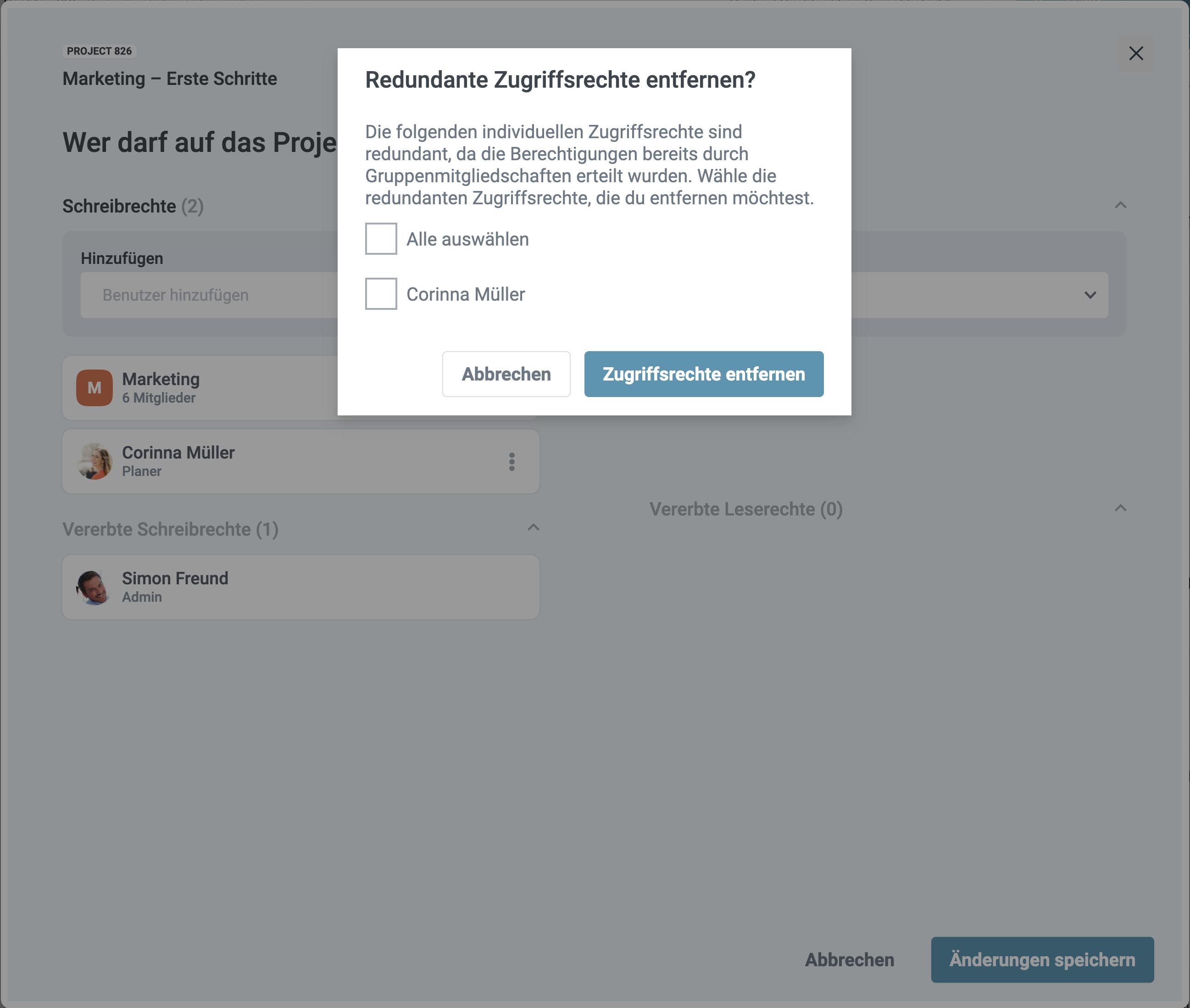 Ein Screenshot der Abfrage bei redundant vergeben Rechten in factro