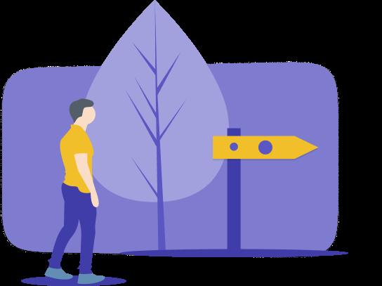 Eine Grafik mit einem Menschen, Baum und einem Schild