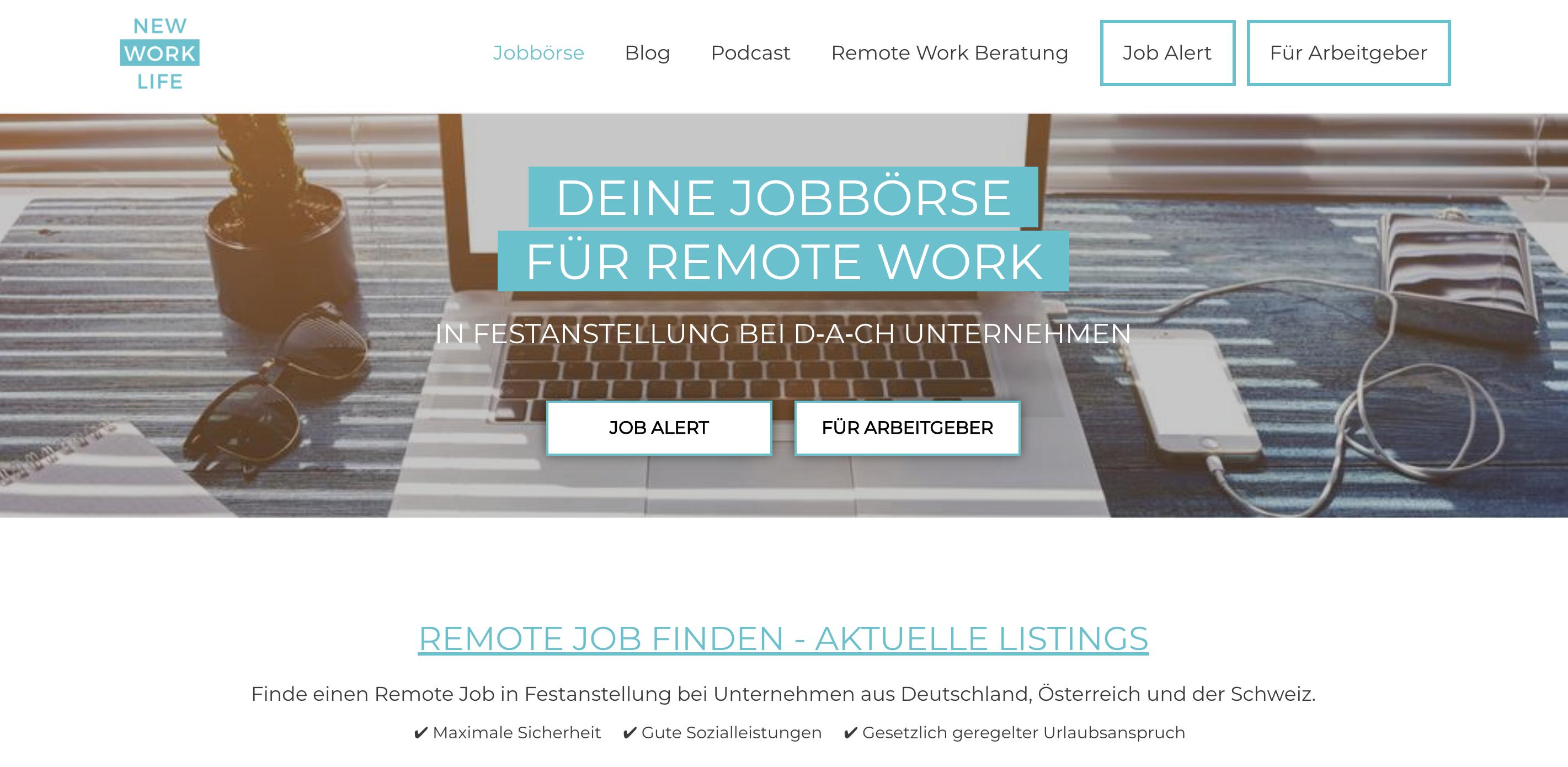 Screenshot vom Jobportal New Work Life