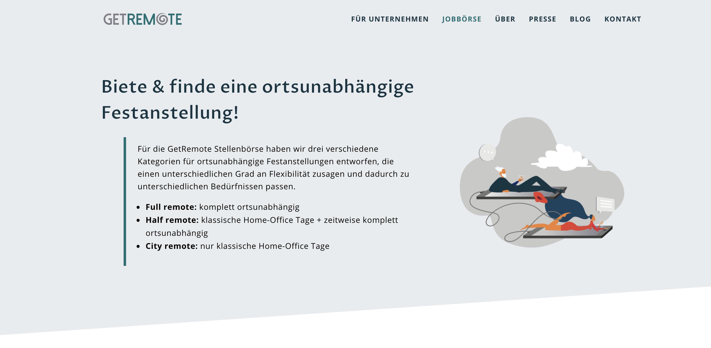 Screenshot von Jobportal GetRemote