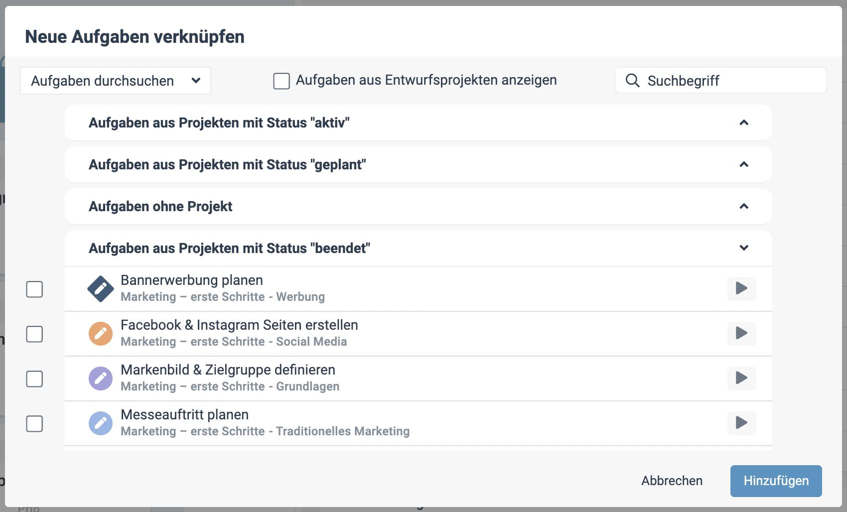 Ein Screenshot der neuen Aufgabenverknüpfung in factro
