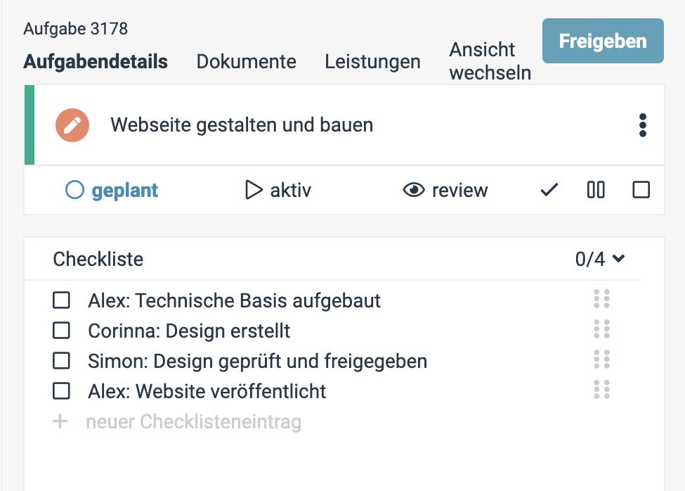 Ein Screenshot einer factro Aufgabe mit Checklistenpunkten