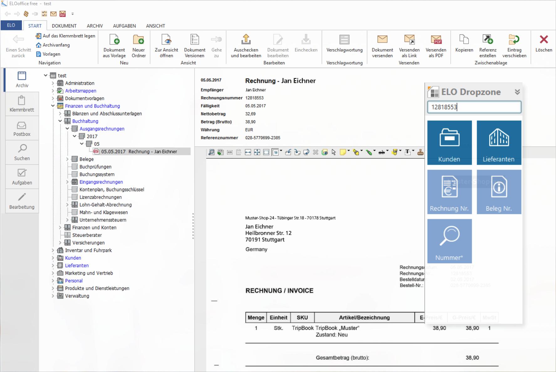 Ein Screenshot des Tools ELOoffice