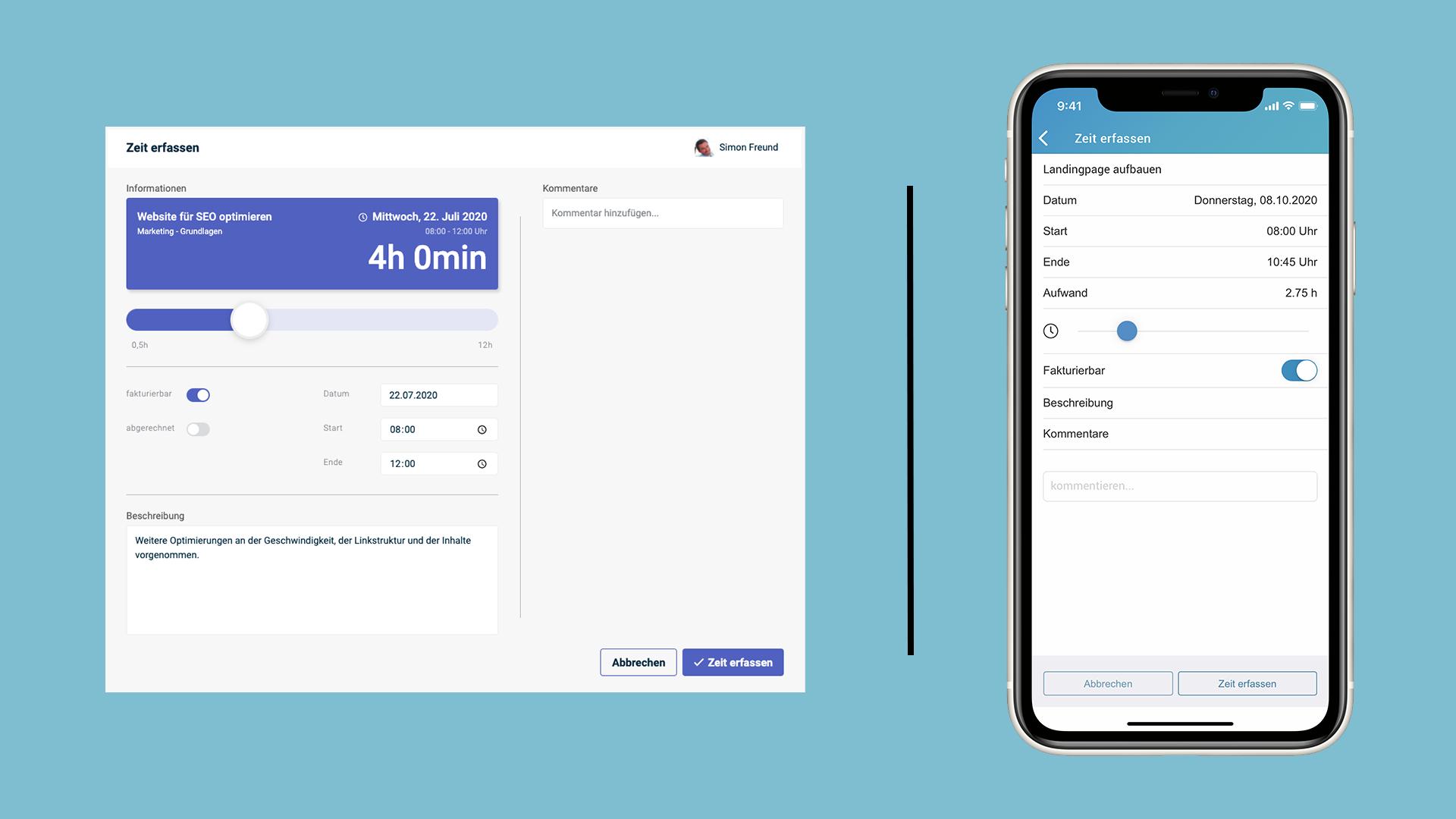 Eine Darstellung der factro Zeiterfassung mobil und im Browser