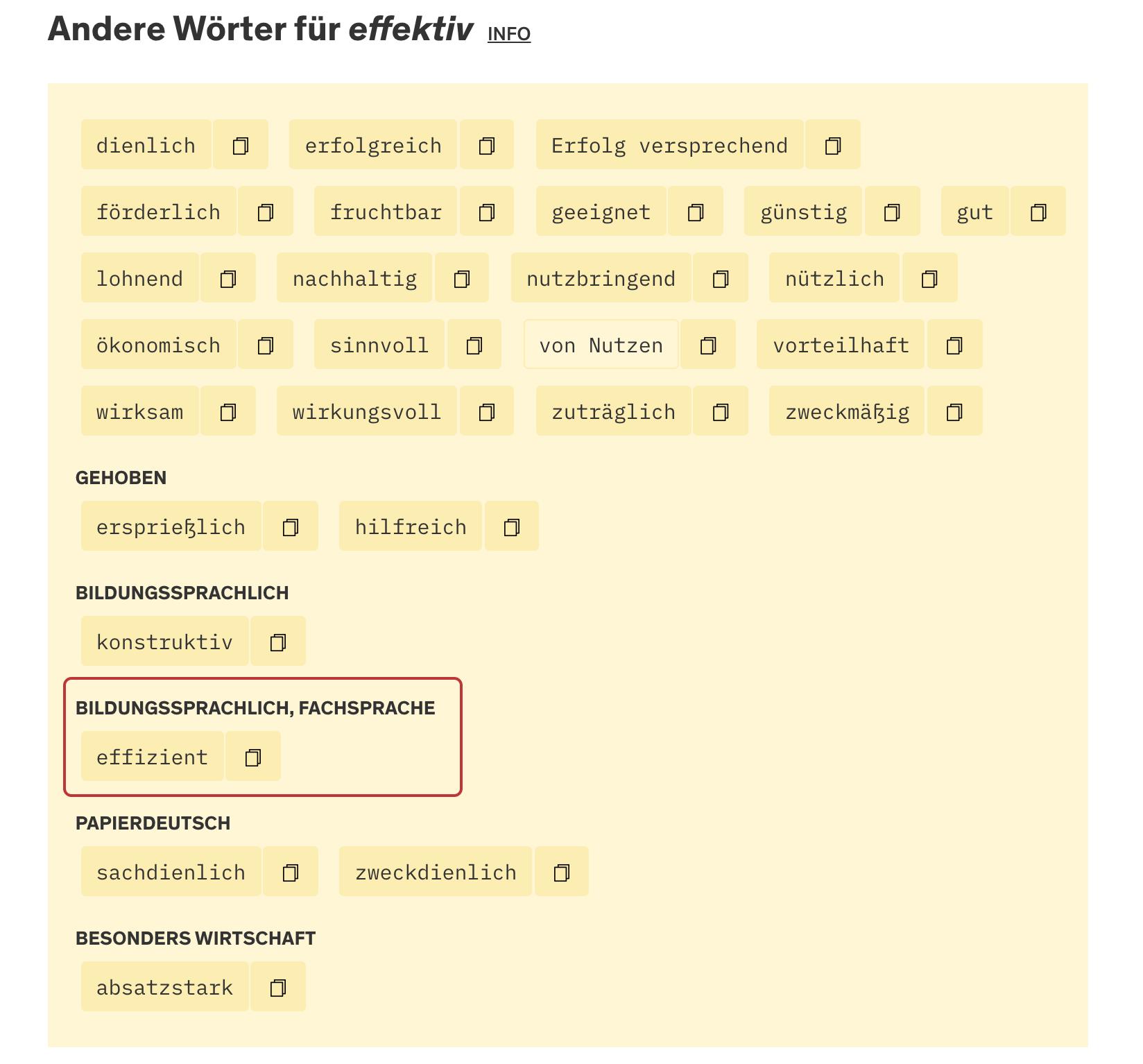 Screenshot Duden Synonyme Wörter im Vergleich