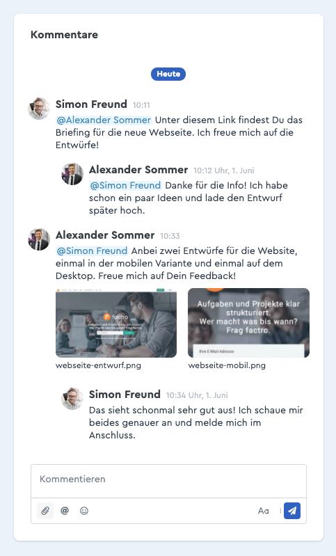 Ein Screenshot des factro Kommentarverlaufs mit integrierten Dateien
