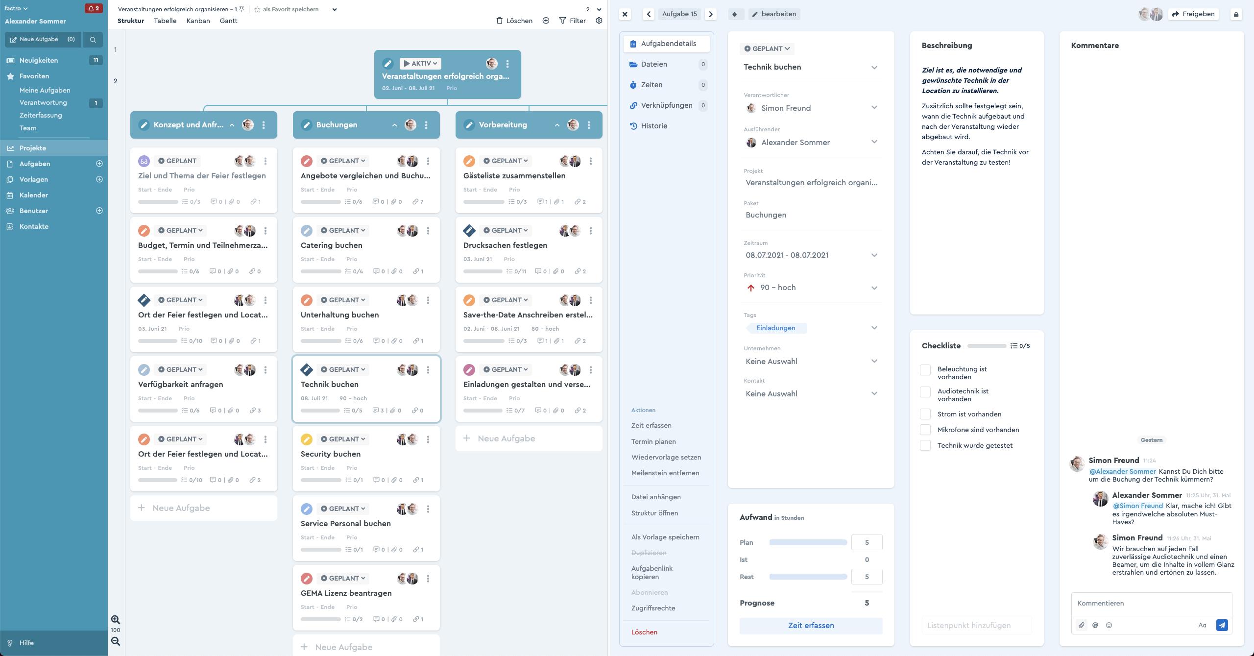 Ein Screenshot des factro Splitscreen mit Aufgabe und Projekt nebeneinander