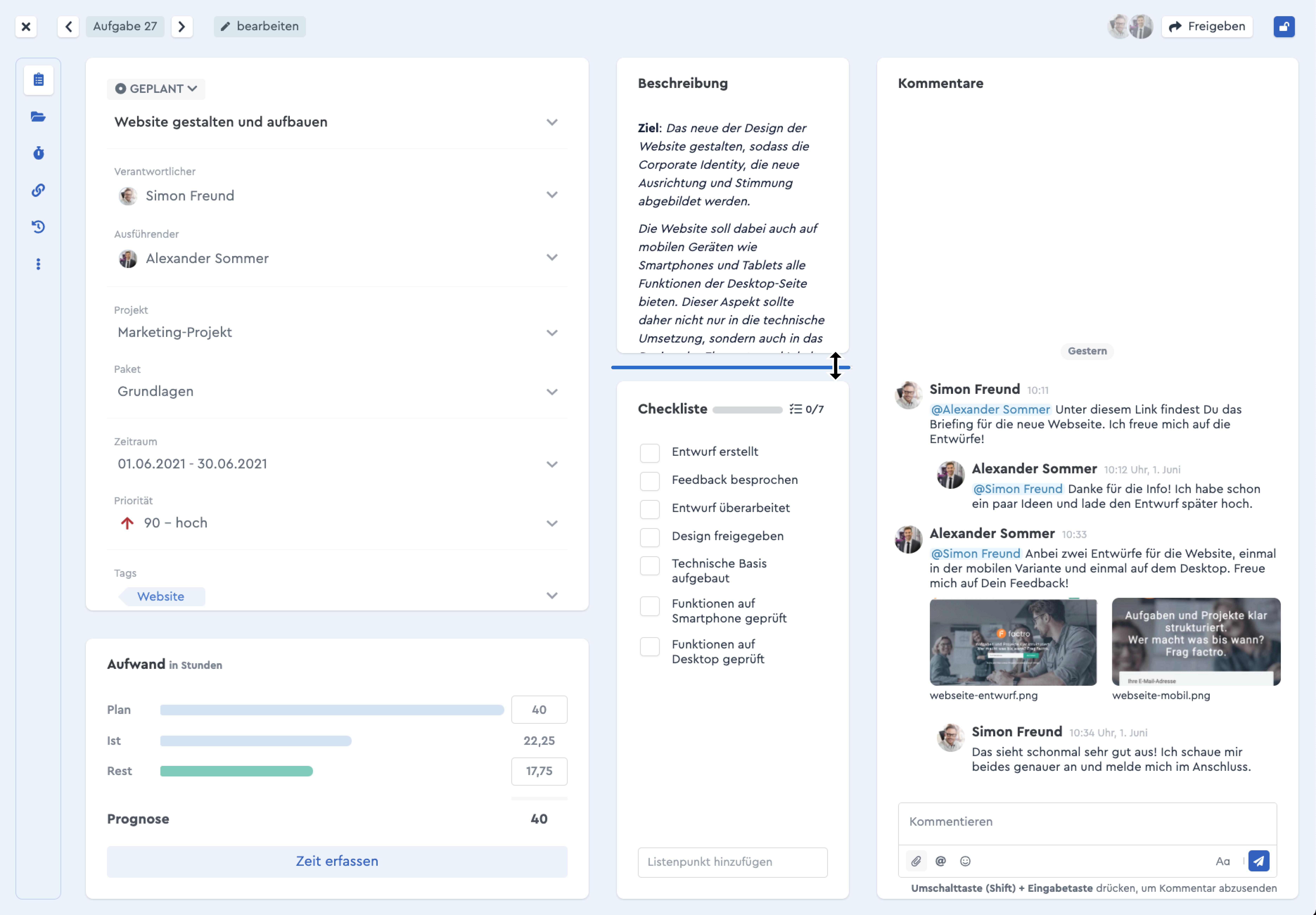 Ein Screenshot, der die flexible Größe der Aufgabenbereiche in factro zeigt